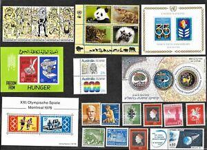 Worldwide Stamps, Souvenir Sheets, Strips, Blocks, ALL MNH Free Shipping U. S.