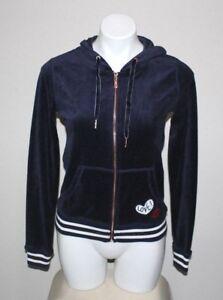 6f393640d3 NWT BETSEY JOHNSON Womens Blue Velour Hoodie Zip Front Sweatshirt ...