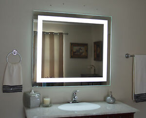 "Front-Lighted LED Bathroom Vanity Mirror: 40"" x 36"" - Rectangular - Wall-Mounted"