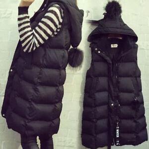 Womens-zip-Down-cotton-Waistcoat-Vest-Quilted-Puffer-long-Hoodie-Coat-Jacket-Z09