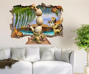 Details about 3D Small Dinosaur 4 Wall Murals Stickers Decal breakthrough  AJ WALLPAPER AU Kyra