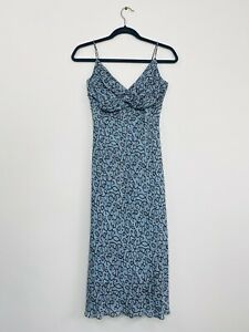 Lisa-Ho-Womens-Slip-Dress-Teal-Strappy-90-Y2K-Style-Size-8-Races-Designer