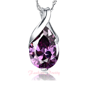 """New Arrived! Pretty 2 1//2 Carat Amethyst Teardrop Necklace with 18/"""" Free Chain"""
