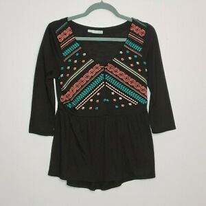 Maurices-Women-s-Black-Pink-Floral-Embroidered-Top-Boho-Peasant-Blouse-S-Small