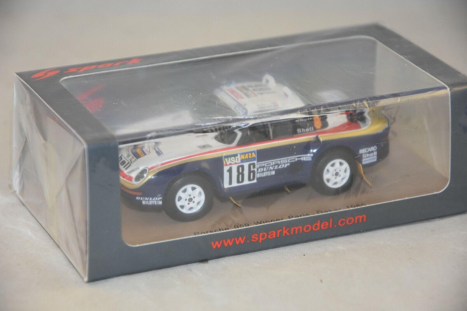 Spark s7815-porsche  959 nº 186 winner rally paris dakar metge 1986 1 43  beaucoup de surprises