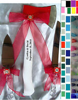 3pc Set Firefighter Personalised Axe Cake Knife & Server Wedding Fireman Colors