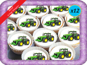 Tractor John Deere Cupcakes X 12 Real Edible Icing Cake Topper Image