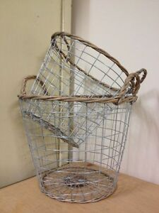 Vintage-Round-Silver-Wire-Metal-Basket-Mesh-Storage-Container-2-Sizes-Available