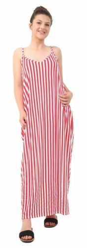 Womens Ladies Stripe Cami Strappy Summer Holiday Beach Maxi Dress Plus Size 8-26