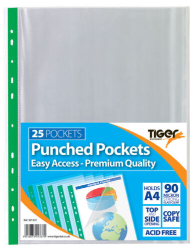 Specialist A4 PUNCHED POCKETS Wallets Clear Multi Punch Sleeves Filing {Tiger}