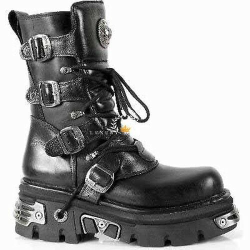 NEWROCK Leather New Rock 373 S4 Metallic botas Negro Leather NEWROCK Goth Biker Emo Fashion 7b7784