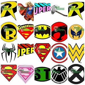Image is loading Superhero-logos-set-3-Iron-on-T-Shirt-
