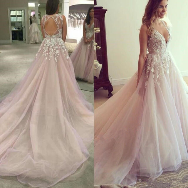 Pink Bride Lace Wedding Dress Bridal Ball Gown Custom Backless Beach