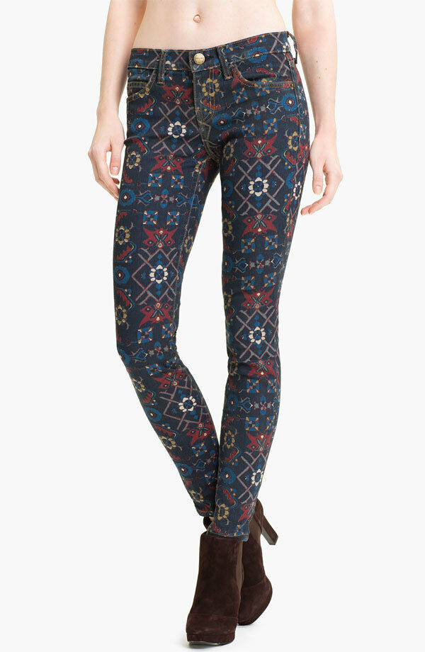 NWT Current Elliott the Ankle Skinny in Midnight Tapestry Print Stretch Jeans 24