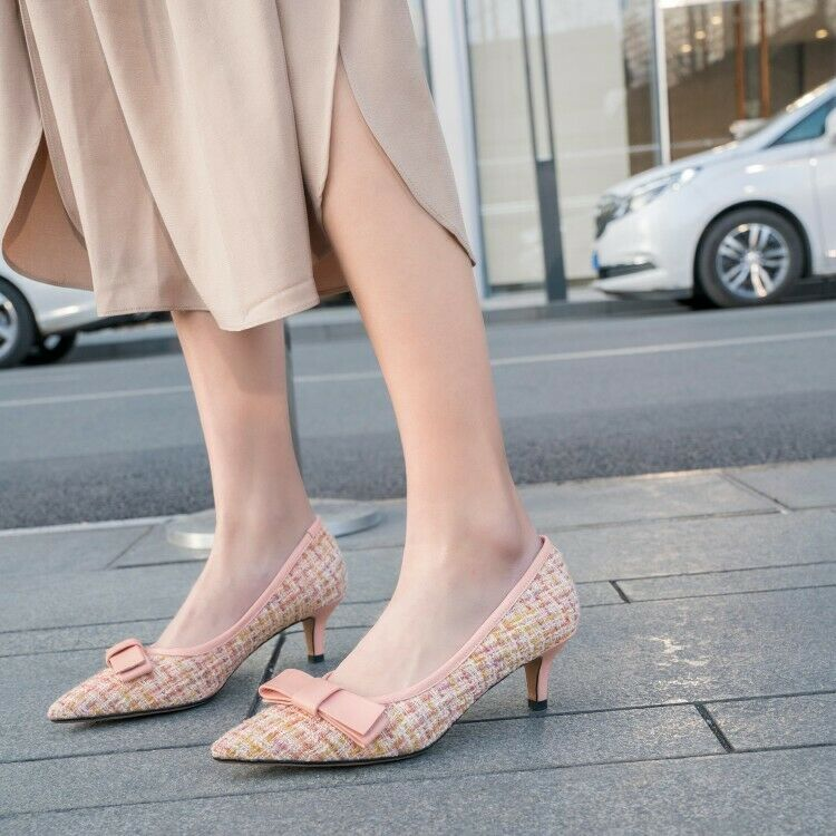 Women's Sweet Party Bowknot Pointy Toe Slip On Kitten Heel Pumps Formal shoes jw