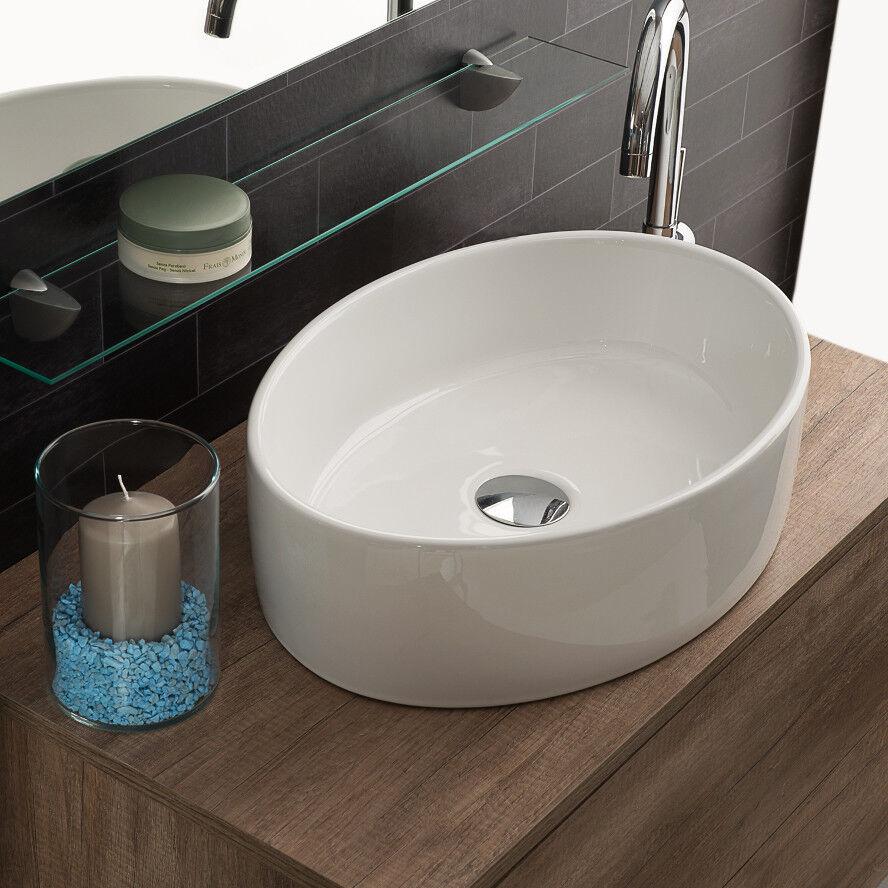 Lavandino Lavabo da Appoggio Ovale in Ceramica Bianco 50x35,5 cm - Made in