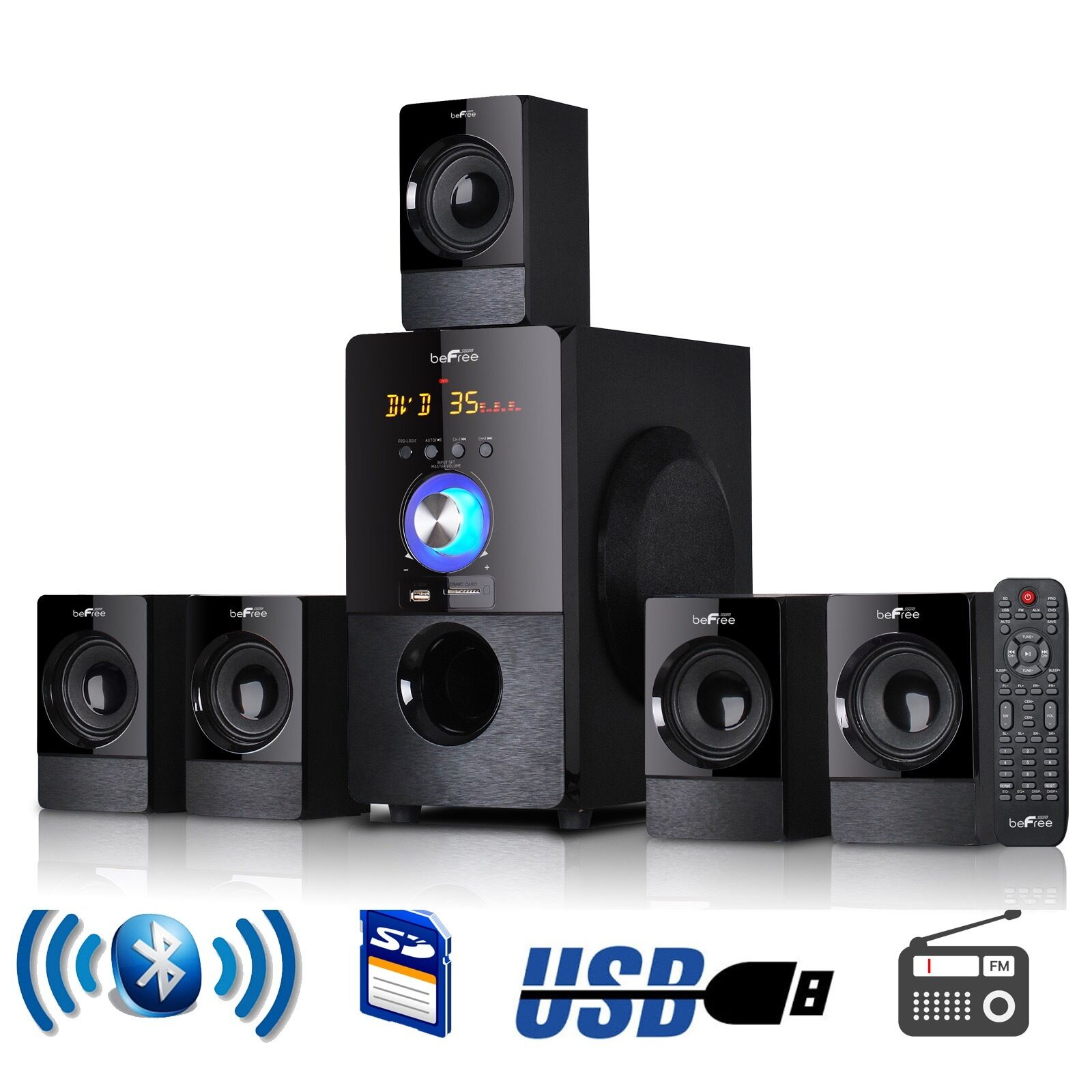 5 1 channel befree surround sound bluetooth home theater speaker system with usb ebay. Black Bedroom Furniture Sets. Home Design Ideas