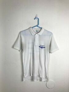 Mens-Medium-Blue-Angels-Fly-Navy-Aircraft-Show-White-VTG-Polo-Golf-Shirt