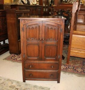 English-Antique-Dark-Oak-Small-Wooden-2-Door-Linen-Fold-Cabinet-with-2-Drawers