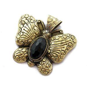 Black-Onyx-Brass-Butterfly-Pendant-Tibetan-Handmade-From-Nepal-PD1011b