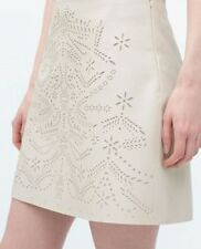 ZARA WOMEN CREAM MINI SKIRT LASER CUT FAUX LEATHER NEW WITH TAG UK SIZE M