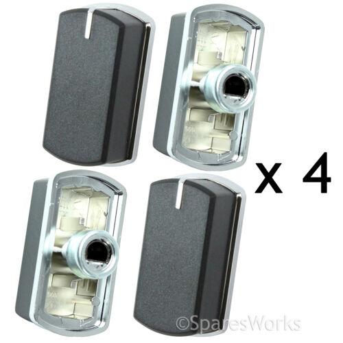 4 x switch bouton pour belling 444449565 444449566 plaque four noir argent 083240900