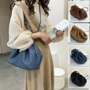 Medium-Woven-Faux-Leather-Clutch-Pouch-Clip-on-Shoulder-Bag-Crossbody-Purse-Gift