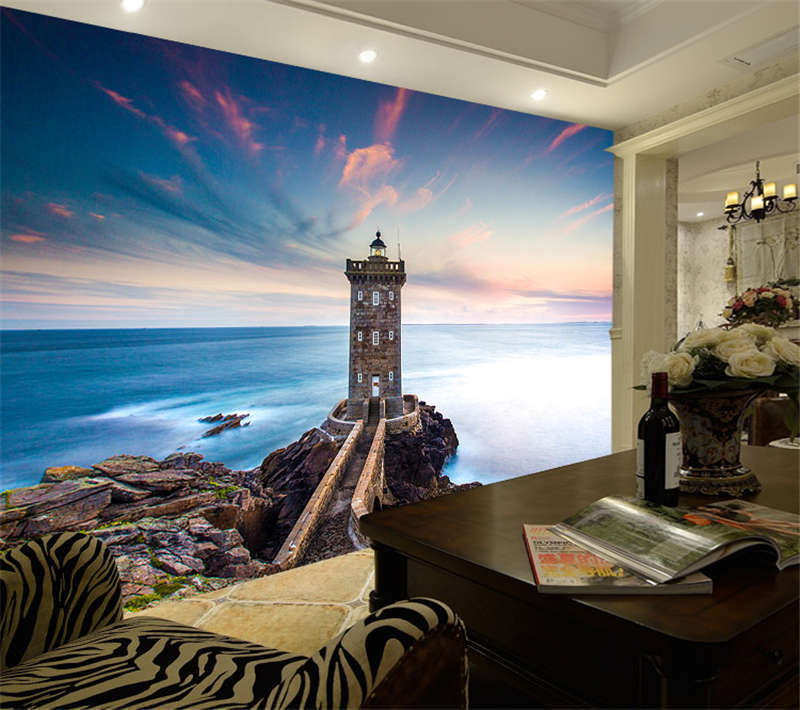 Kermorvan Lighthouse Sea Full Wall Mural Photo Wallpaper Print Kid Home 3D Decal