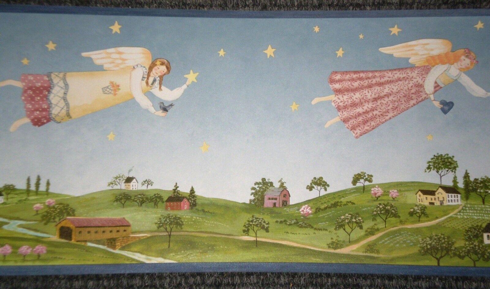 Wallpaper Border American Folk Art Angels Stars Sky Birds Hearts Blue Trim