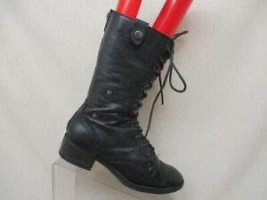 c49b13a8a47 Steve Madden Black Leather Zip Lace Up Military Fashion Boots Size 5 ...