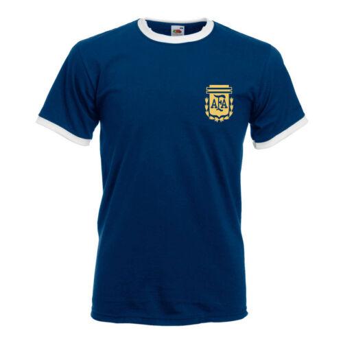 Retro Argentina Football Shirt TShirt Free ANY Name Number ie Messi Aguero etc
