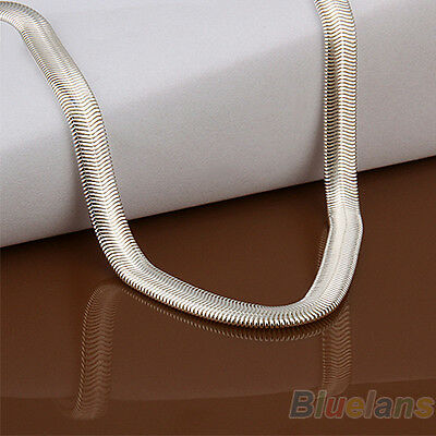 Unisex Solid Silver Plated 6mm Snake Chain Necklace Nice Gift For Women Men B52U