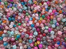 CRACKLE CRYSTAL GLASS BEADS,8 MM, 90 BEADS ASSORMENT OF SOLID AND 2-TONE COLORS