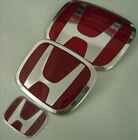 3Pcs JDM Red H Front+Rear+steering wheel  Emblems 06-15 HONDA CIVIC SEDAN DX EX