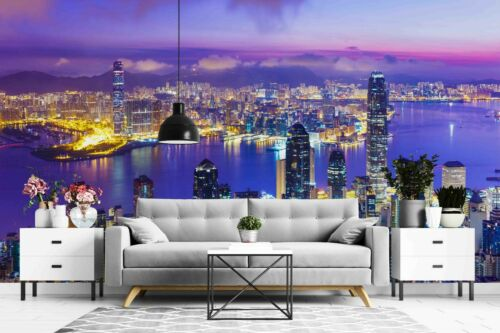 3D City Space Night Self-adhesive Removable Wallpaper Murals Wall Sticker FC