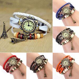 Vogue-Retro-Vintage-Women-039-s-Eiffel-Tower-Quartz-Leather-Bracelet-Wrist-Watch