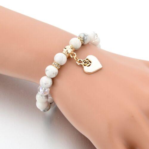 Señoras brazalete de la amistad con cuentas de Piedra Blanco Azul Negro Encanto Corazón Y Cristal