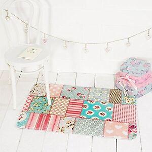 Shabby chic children playmat patchwork print rug girls bedroom floor