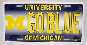 Michigan Wolverines GO BLUE Car Truck Tag Auto License Plate NCAA Novelty Sign