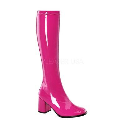 "Funtasma 3"" Block Heel Shiny Hot Pink Stretch GoGo Knee Boots Hero Cosplay 5-16"