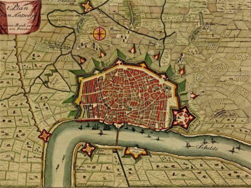 ART PRINT POSTER MAP OLD VINTAGE ANTWERP BELGIUM CITY SCHELDT RIVER LFMP0841