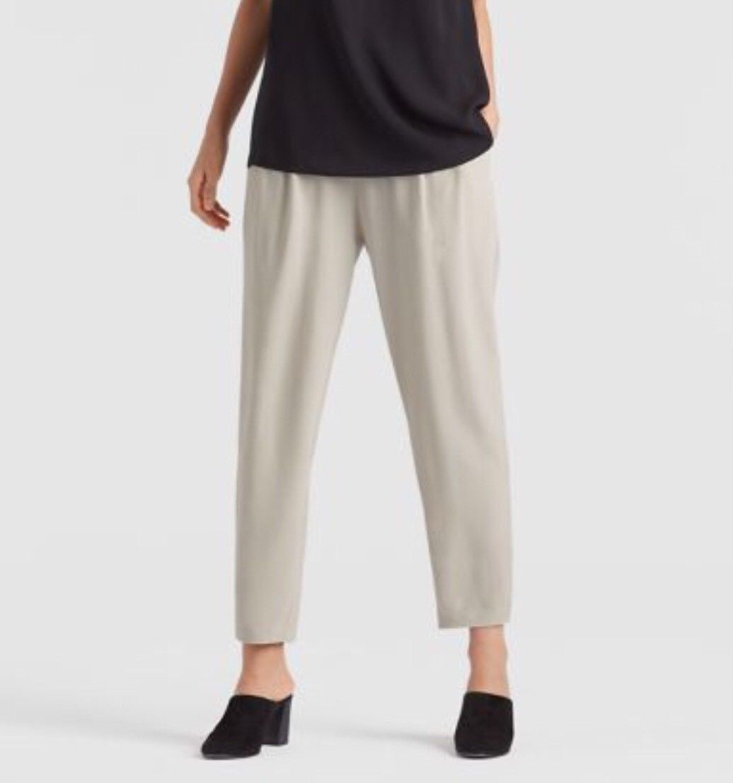 SZ 3X Eileen Fisher Tencel Lyocell Viscose Crinkle Crepe Slouchy Ankle Pant NWT
