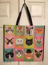 TJ MAXX Cats w/Glasses Shopping Bag Reusable Eco Travel Tote NWT
