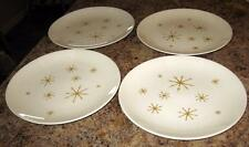 """Lot of 4 Star Glow Royal China 10"""" Dinner Plates Snowflake Gold Mid Century"""