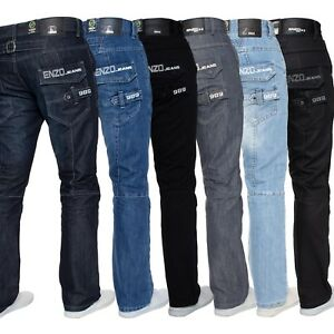 Mens-Straight-Leg-Jeans-Enzo-Designer-Regular-Fit-Denim-Trousers-Pants-All-Waist