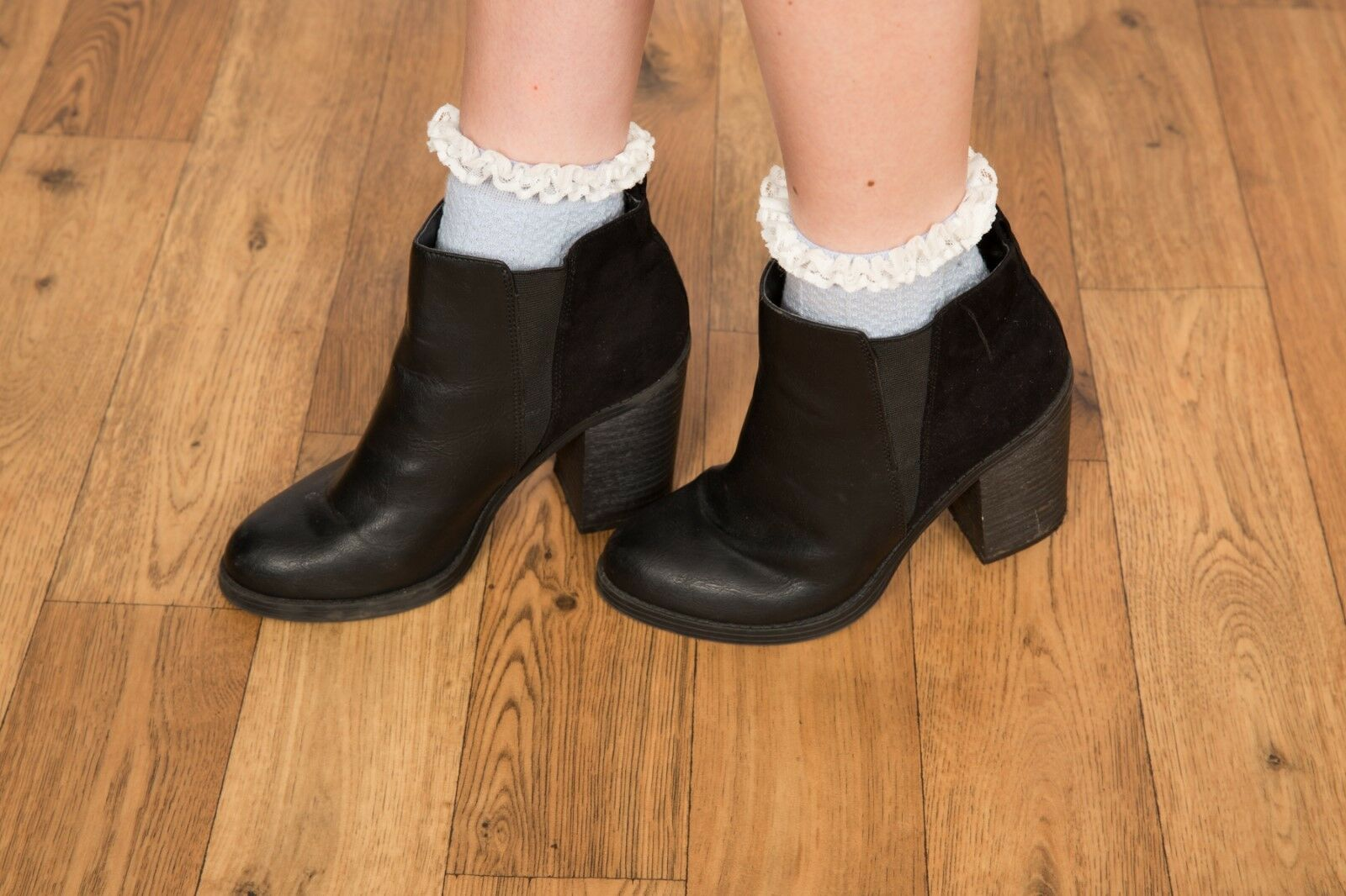 chunky black block heeled chelsea boots ankle boots size 5