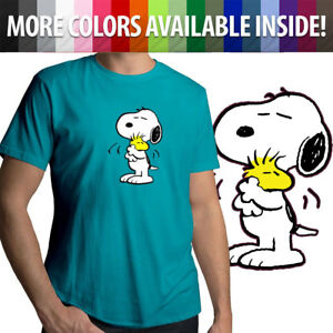 Snoopy-Hug-Woodstock-Cute-Peanuts-Love-Friendship-Mens-Crew-Neck-Tee-T-Shirt