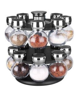 Home-Basics-NEW-16-Piece-2-Tiered-Revolving-Glass-Spice-Rack-SR44072