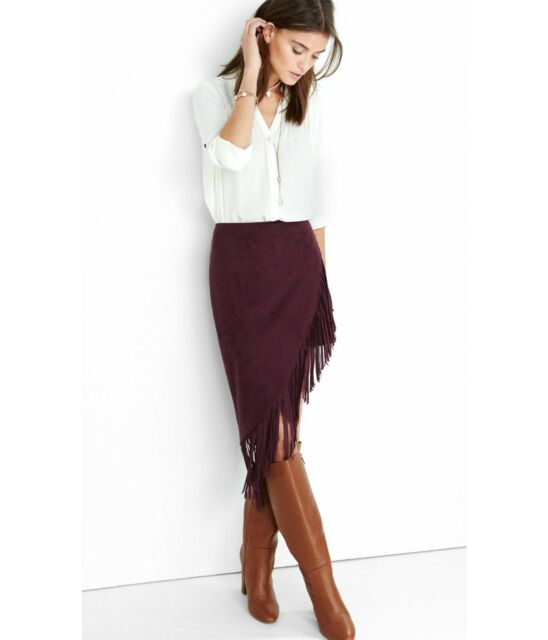 ebff9c321 NEW Express Asymmetrical Womens Purple Suede Fringe Skirt NWT Size - 2  Pencil