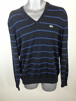 Kleidung & Accessoires Humorvoll Mens Lacoste Black/blue Striped Classic Long Sleeve Smart V Neck Jumper M Medium Knitterfestigkeit